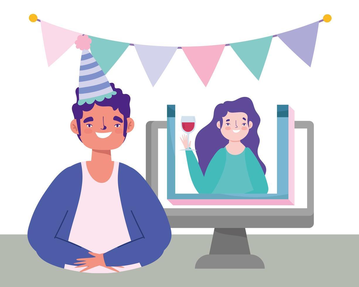 online-fest, födelsedag eller träffa vänner, man och kvinna som pratar videodatorfirande vektor