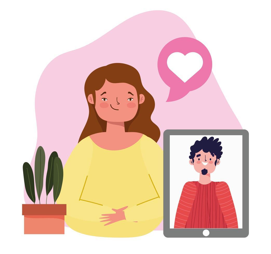 online fest, födelsedag eller träffa vänner, kvinna med smartphone man i video romantisk prat vektor