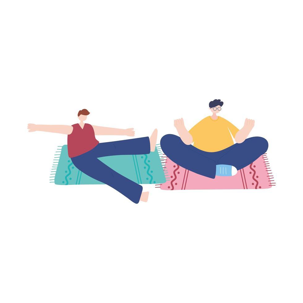 stanna hemma, män mediterar yoga på mattan, självisolering, aktiviteter i karantän för koronavirus vektor