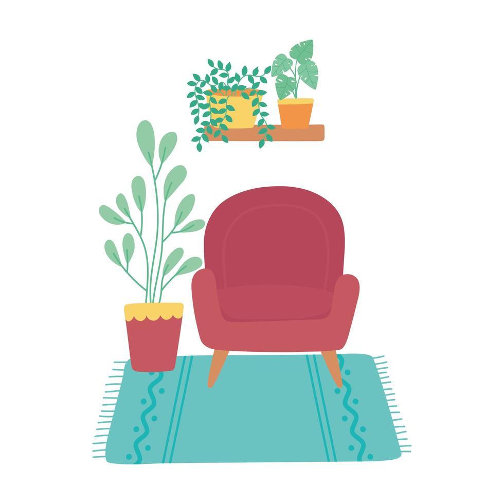 stol med krukväxter och mattor heminredning vektor
