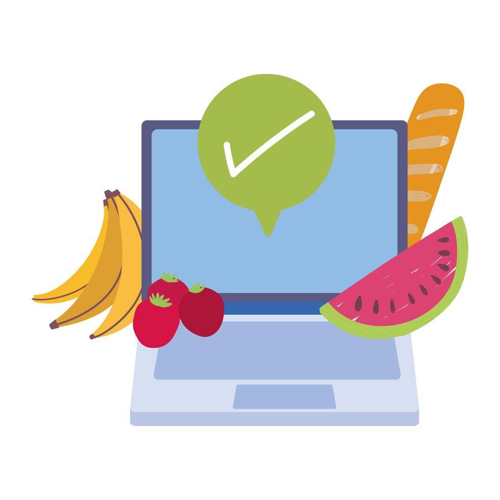 onlinemarknad, bärbar datorfrukter beställer livsmedelsbutik hemleverans vektor
