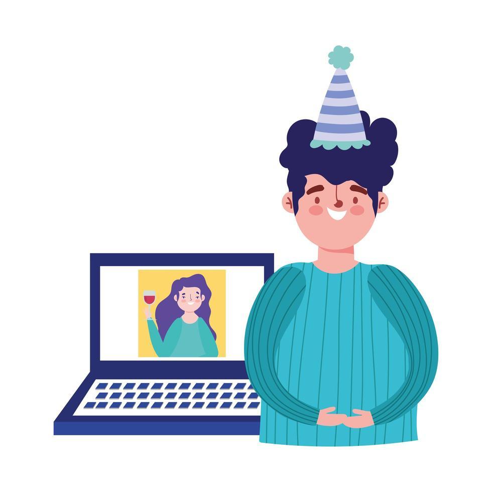 online-fest, födelsedag eller träffa vänner, man pratar med kvinna i webbplatsens firande vektor