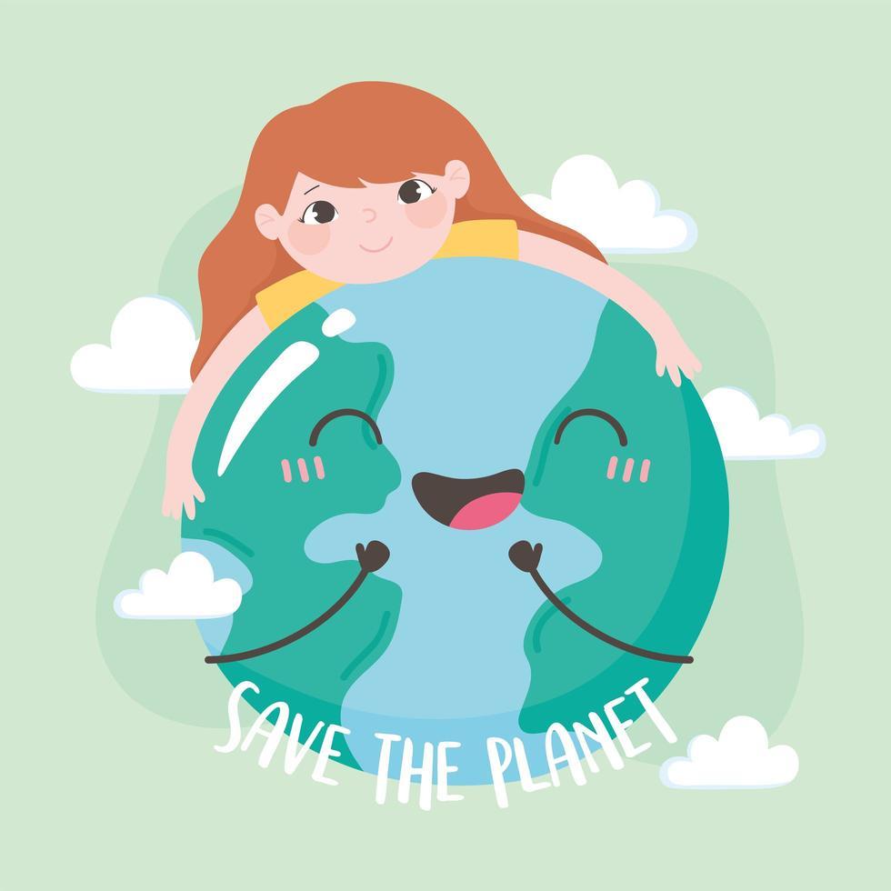 rädda planeten, liten flicka som kramar jordkartan vektor