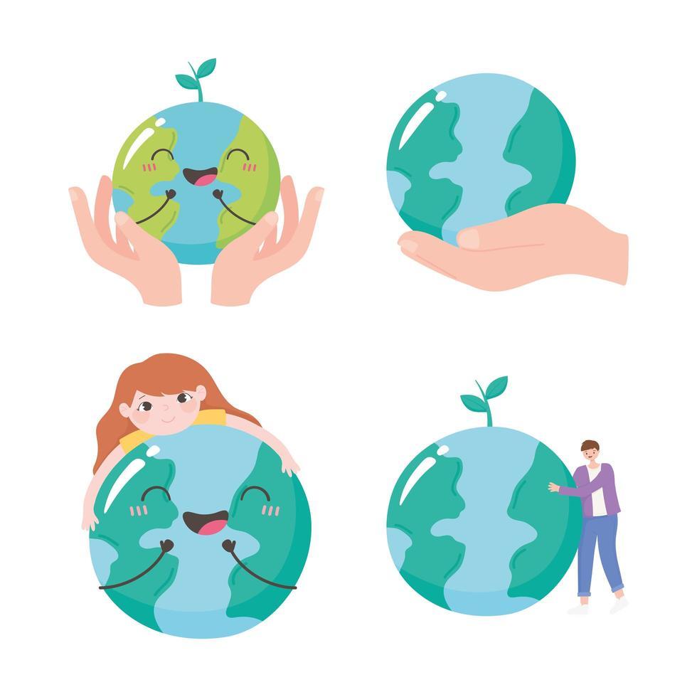 rädda planeten, ställa in globkartahänder och människor bryr sig om ikoner vektor