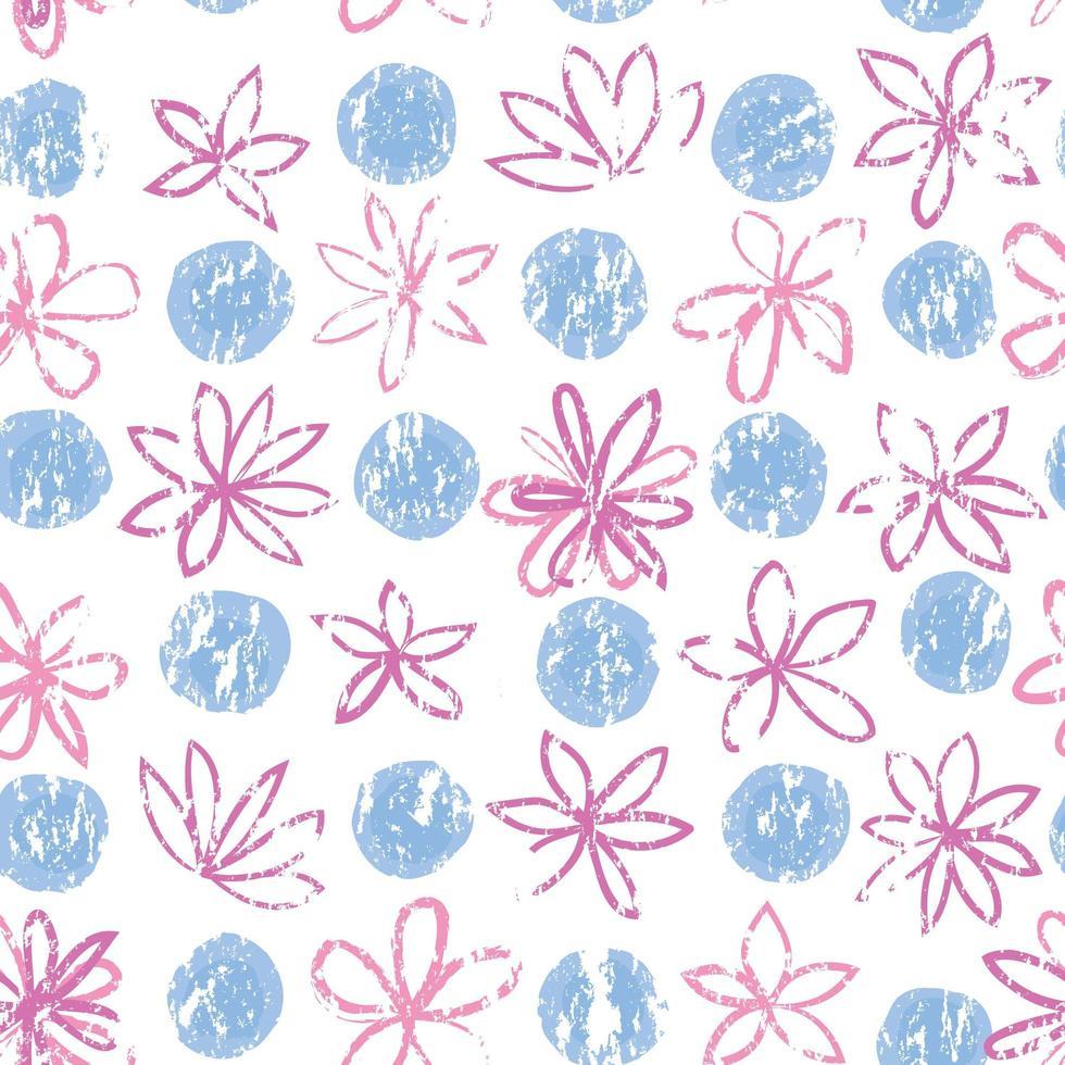 sömlös blommönster med prickar. snygg ritad prickig bakgrund med blommor. abstrakt texturerad cirkel och blommor prydnad. vektor