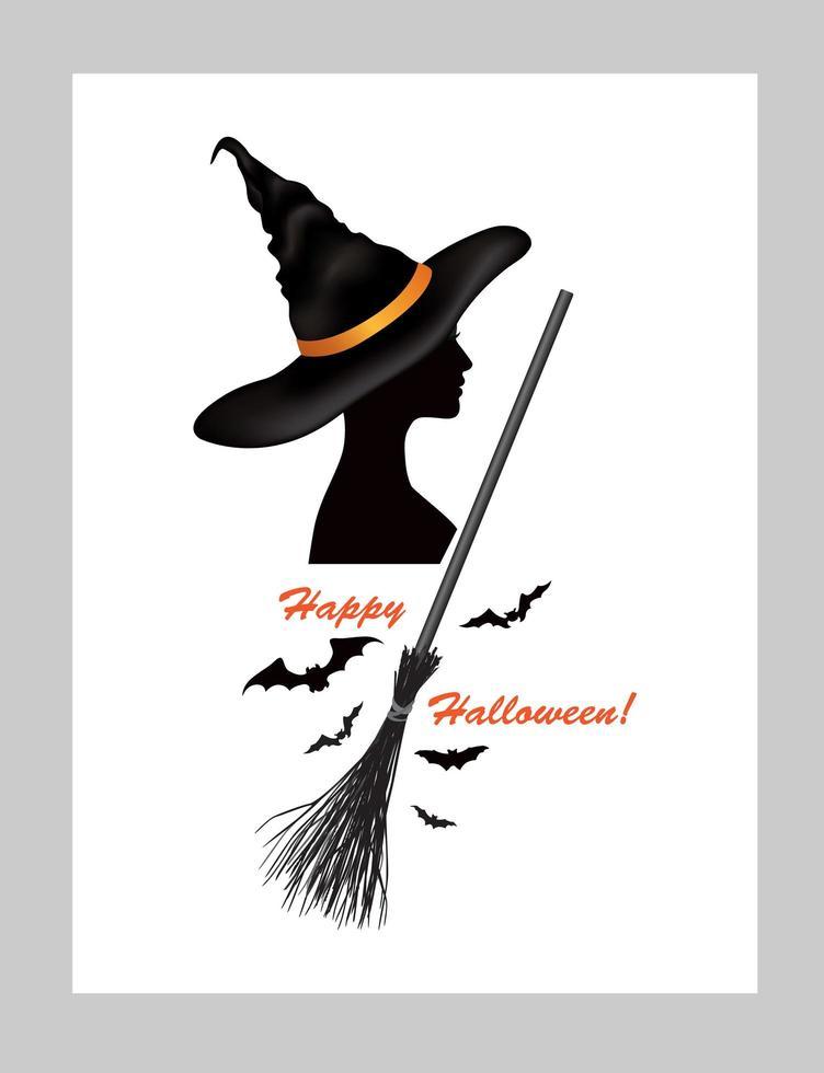halloween gratulationskort med bokstäver glad halloween och häxa i hatt och fladdermöss silhuetter vektor