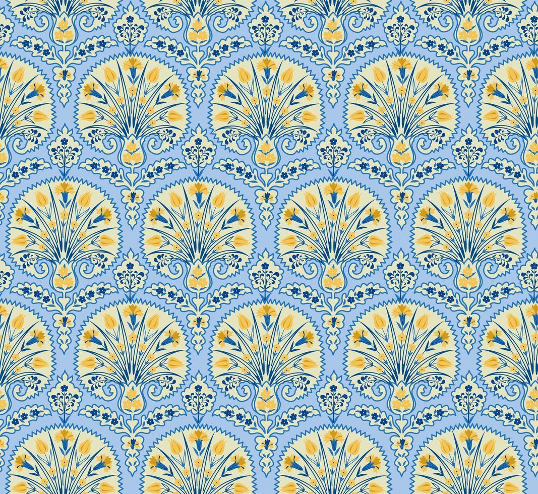nahtloses Stoffmuster mit Blumenmuster. gedeihen gekachelten orientalischen ethnischen Hintergrund. arabische Verzierung mit fantastischen Blumen und Blättern. vektor