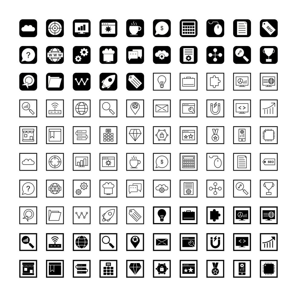 ikonuppsättning för sökmotoroptimering vektor