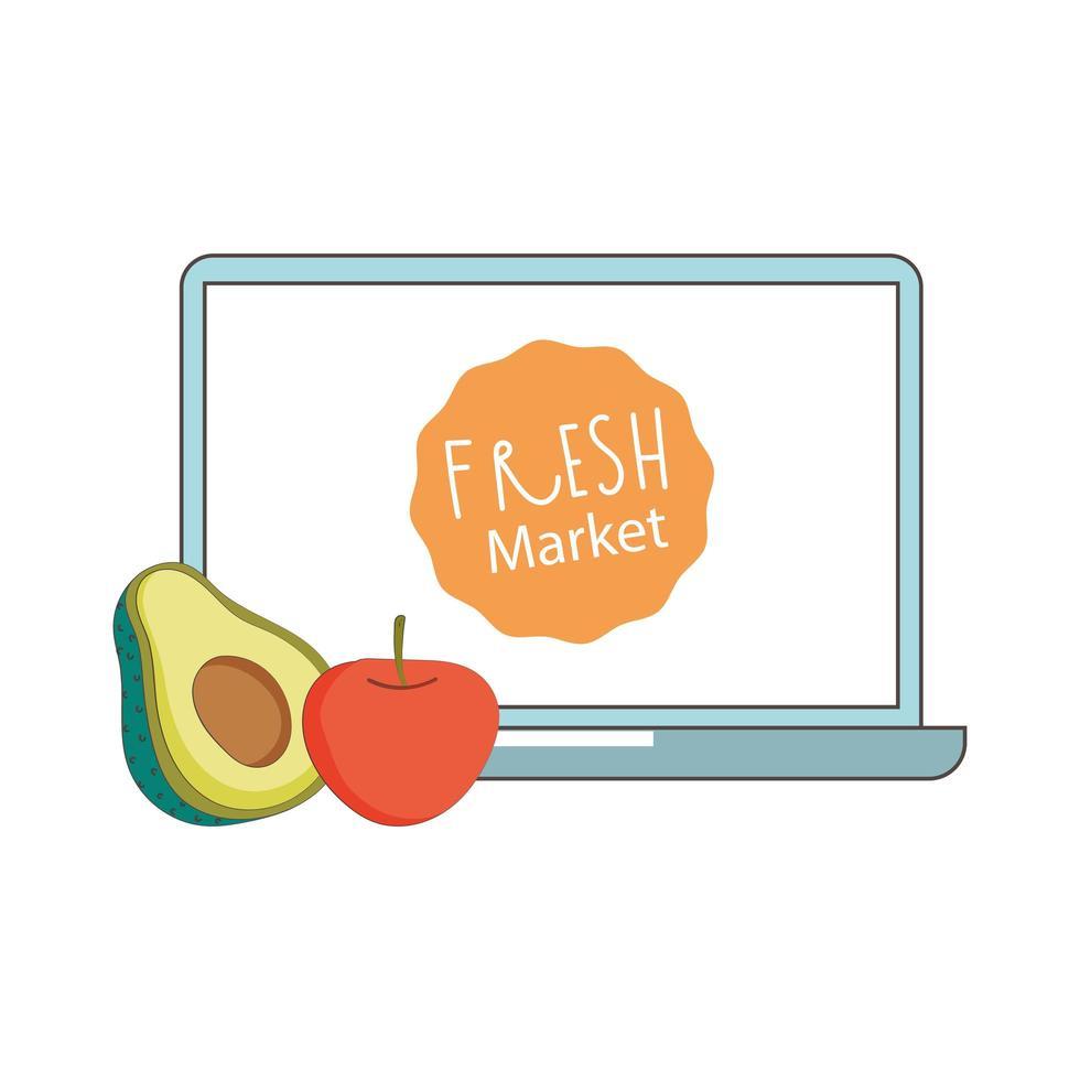 bärbar dator avokado och äpple färsk marknad organisk hälsosam mat grönsak och frukt vektor