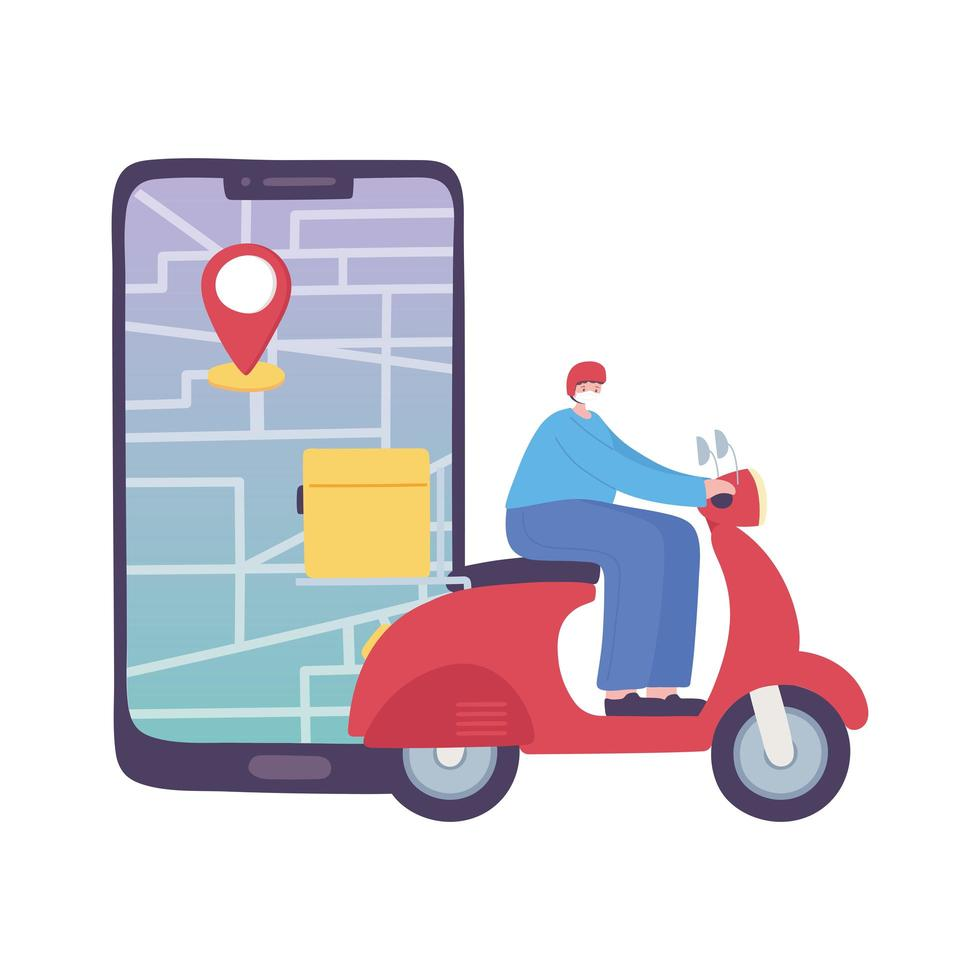 Covid-19-Coronavirus-Pandemie, Lieferservice, Lieferfahrer, Rollerfahrer und GPS-Navigationskarte für Smartphones, medizinische Schutzmaske tragen vektor