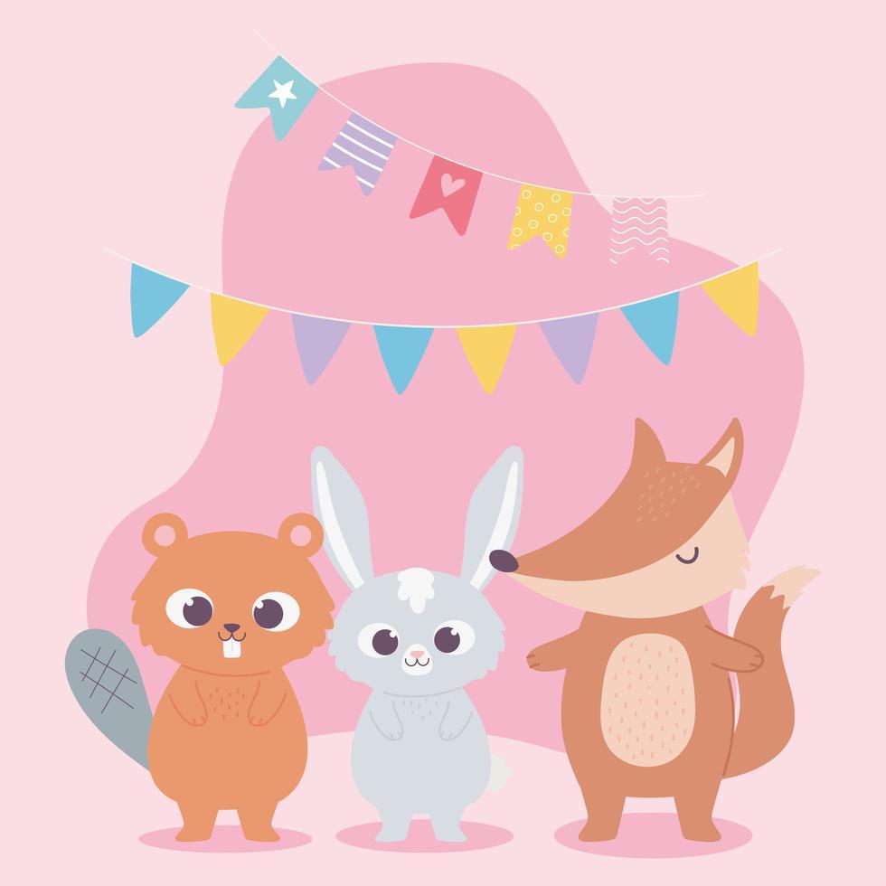 Alles Gute zum Geburtstag, niedlicher Kaninchenbiber und Fuchs mit Wimpelfeierdekorationskarikatur vektor