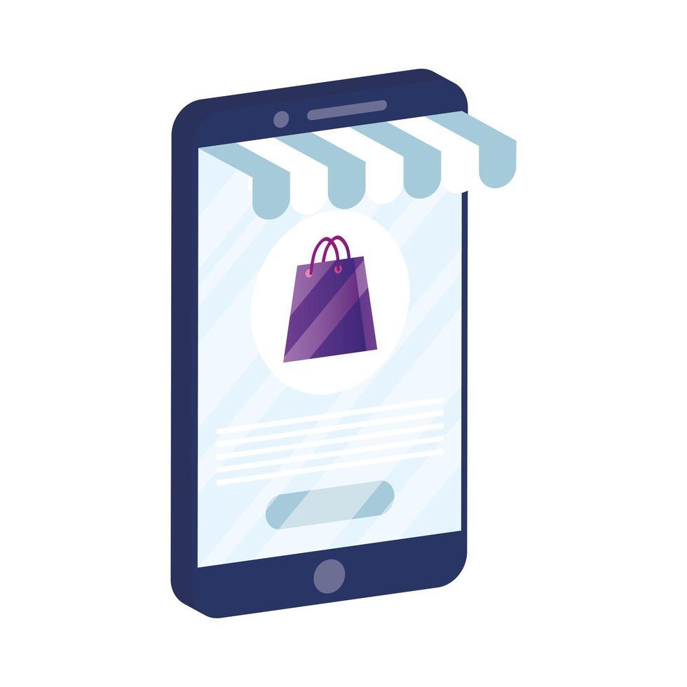 e-handel online med smartphone och shoppingväska vektor