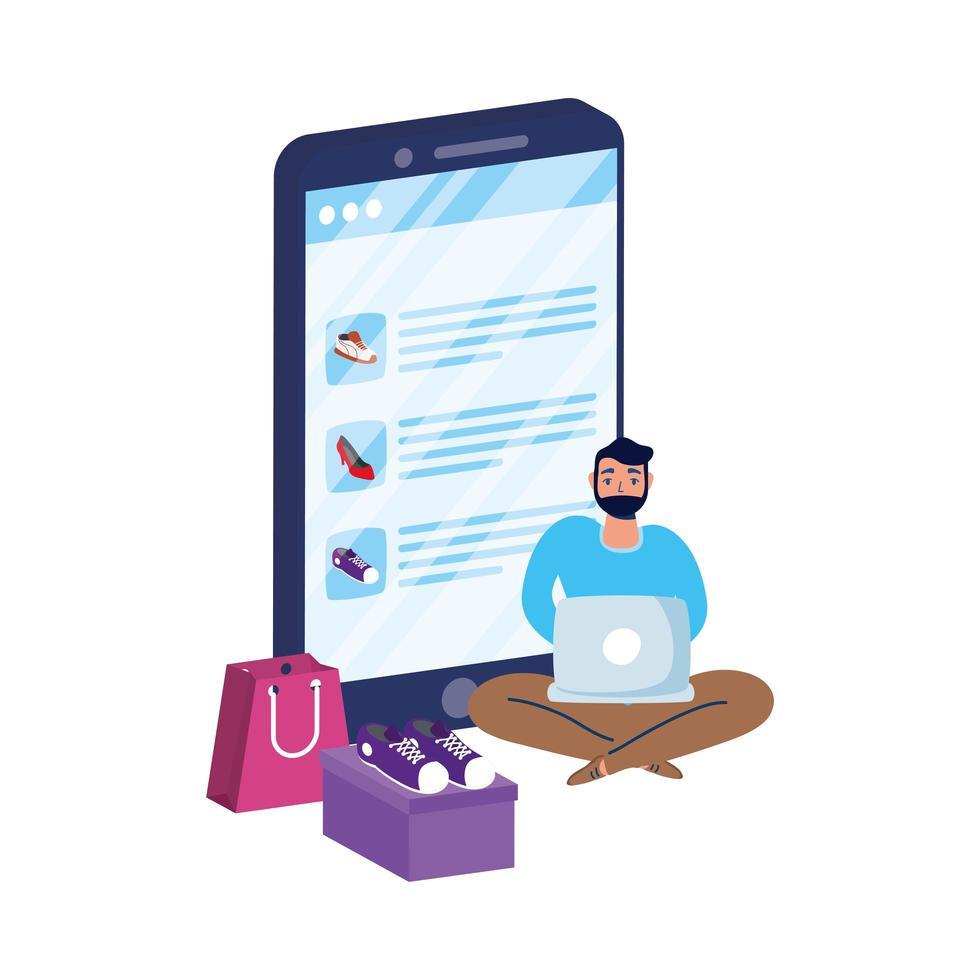 affärs online-e-handel med mannen som använder bärbar dator och smartphone vektor