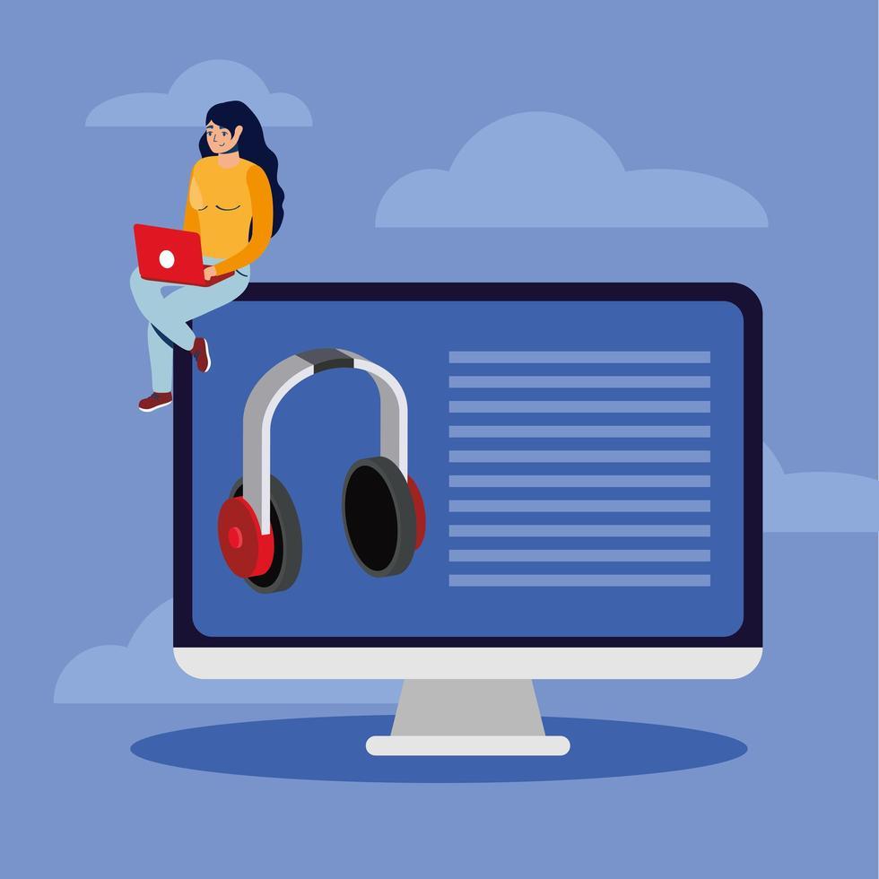 handla online-e-handel med kvinna som använder bärbar dator och stationär dator vektor