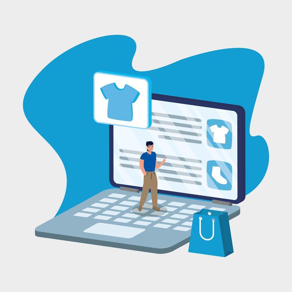 Online-Shopping online mit Mann in Laptop und Tasche vektor