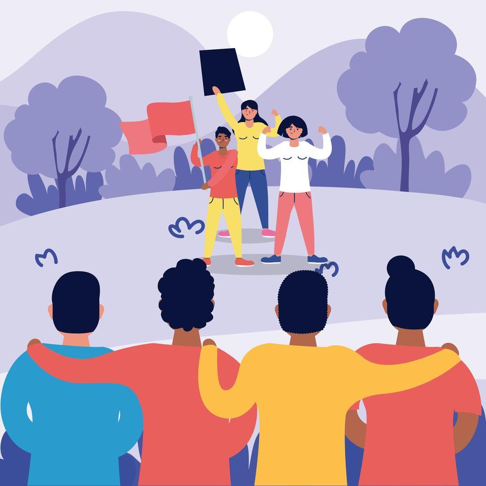 Interracial starke Leute protestieren Charaktere vektor