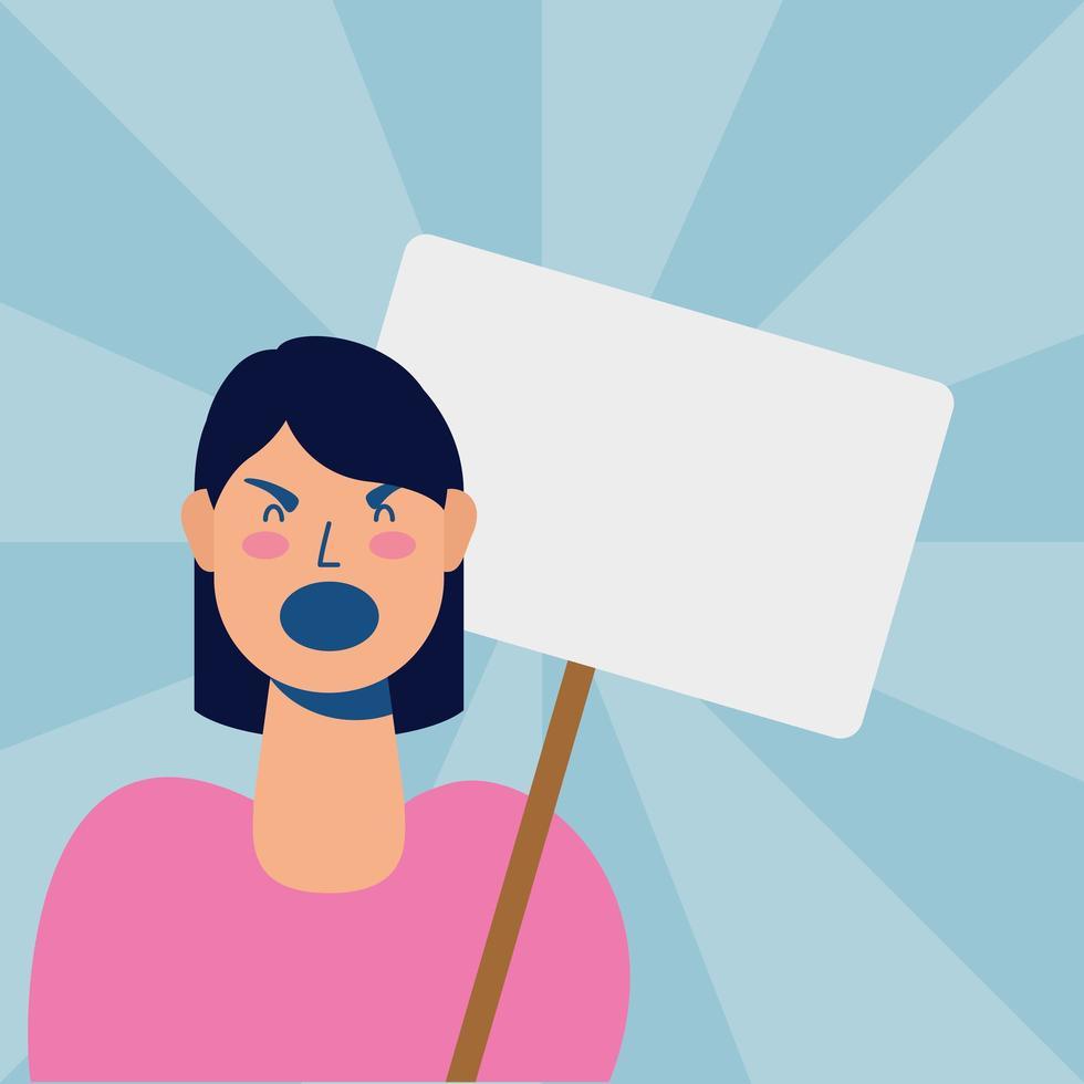 ung kvinna som protesterar med plakat vektor