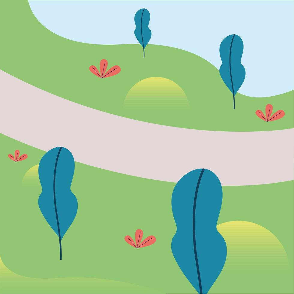 Parklandschaft mit Bäumen und Wegvektordesign vektor
