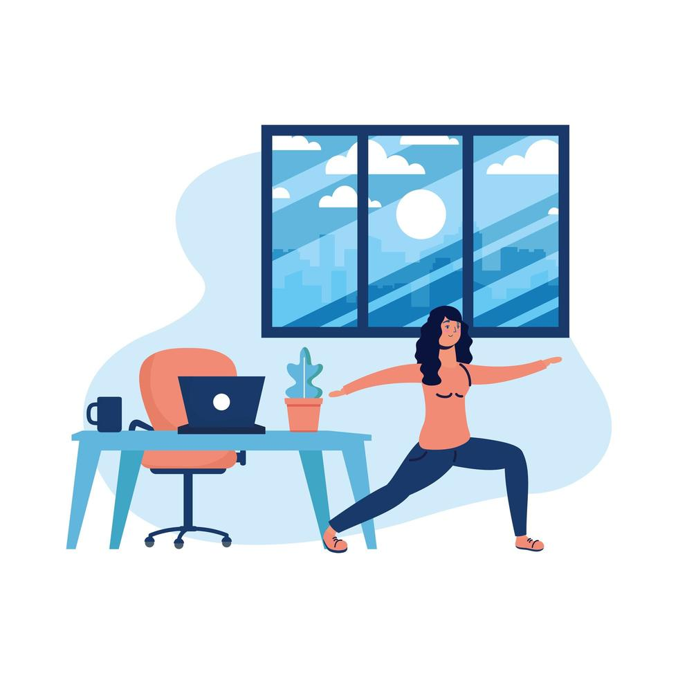 Frau, die Yoga und Laptop auf Schreibtischvektorentwurf tut vektor