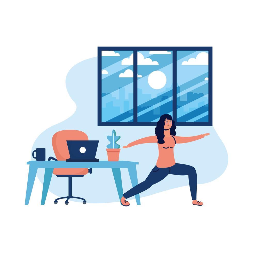 kvinna som gör yoga och bärbar dator på skrivbordsvektordesign vektor