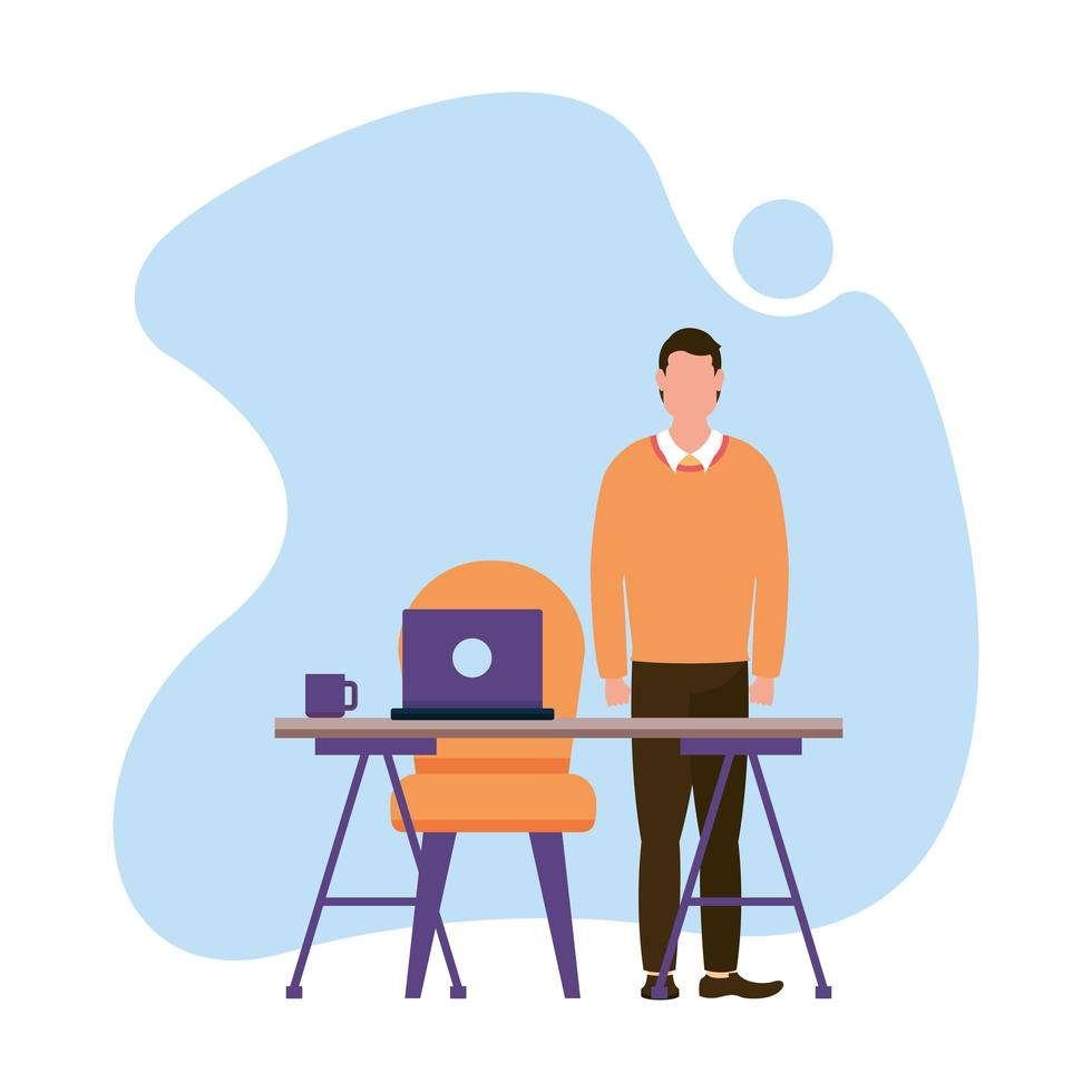 Mann mit Laptop auf Schreibtisch Vektor-Design vektor