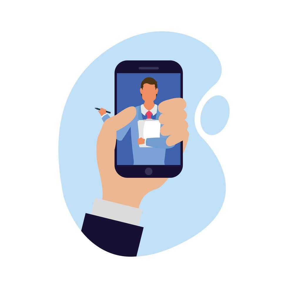 Hand, der Mann auf Smartphone-Vektorentwurf hält vektor
