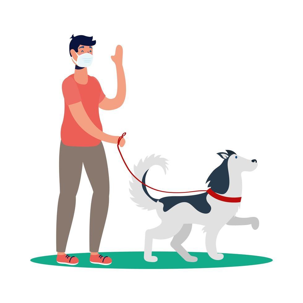 man med medicinsk mask och hundvektordesign vektor