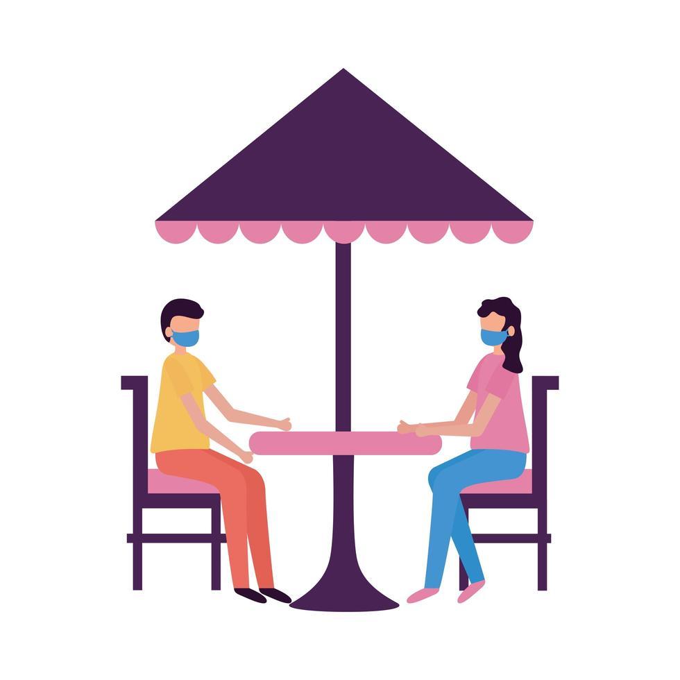 kvinna och man med medicinsk mask på restaurangtabellvektordesign vektor