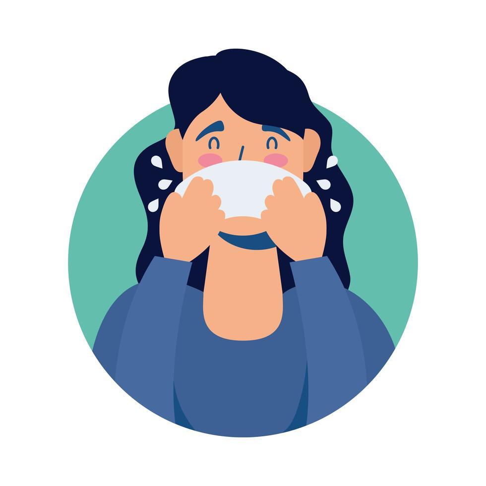 ung kvinna sjuk med rinnande näsa avatar karaktär vektor