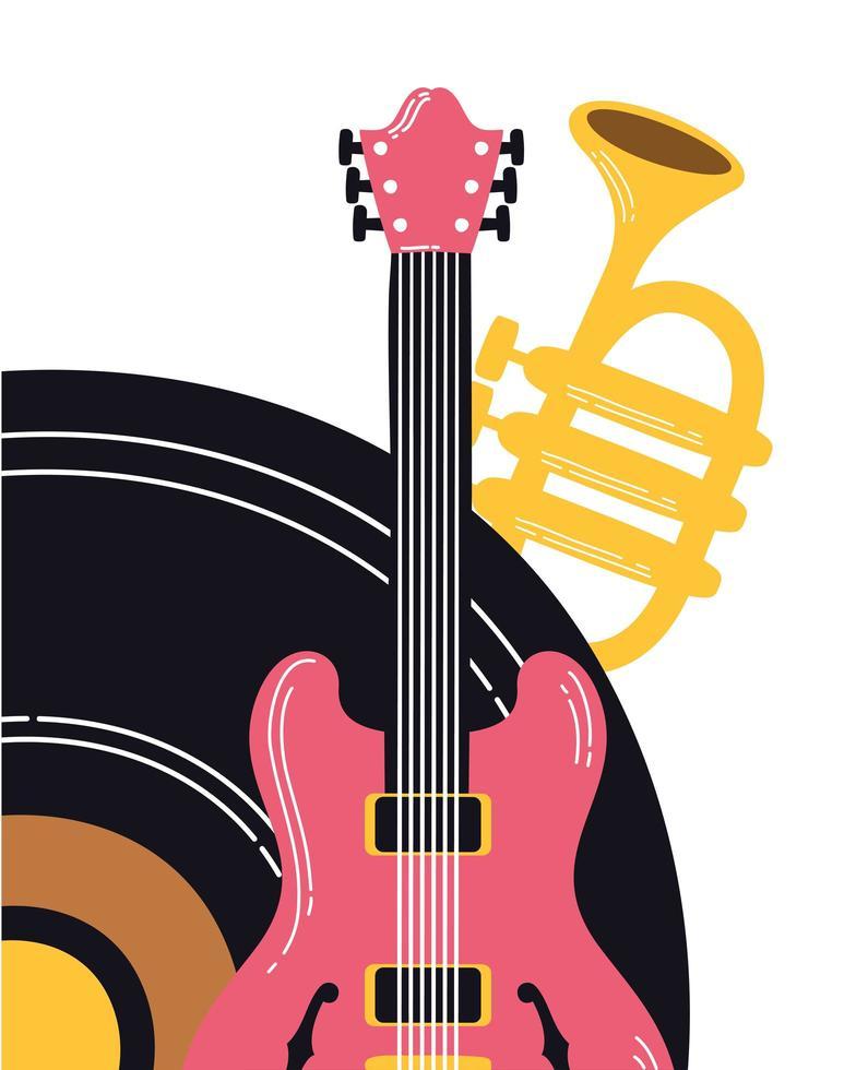 Musik-Vinyl-Scheibe mit Instrumenten vektor