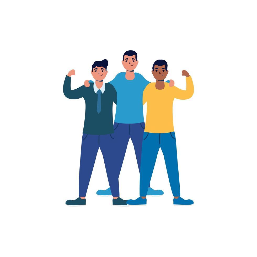 Interracial starke Männer männliche Avatare Charaktere vektor