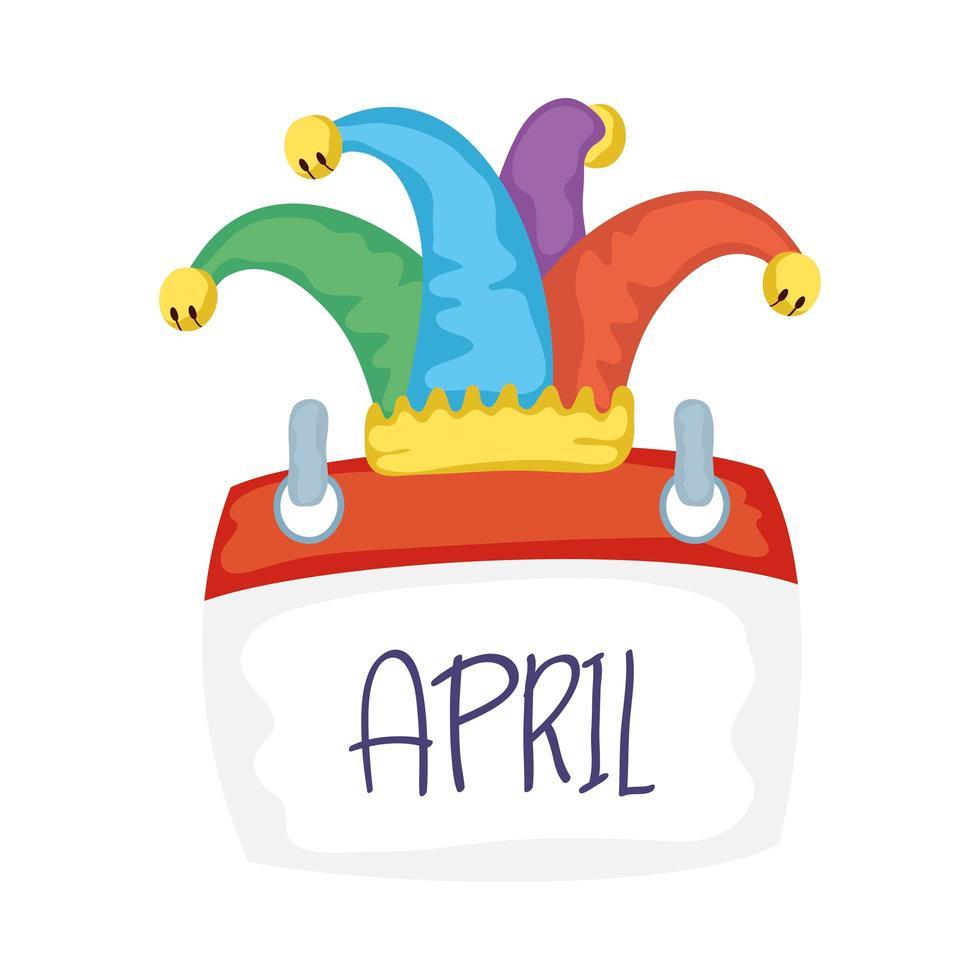 jester hatt med kalender idioter dag tillbehör vektor