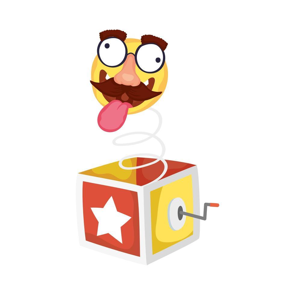 verrücktes Emoji-Gesicht mit Schnurrbart im Tag der Überraschungsbox-Narren vektor
