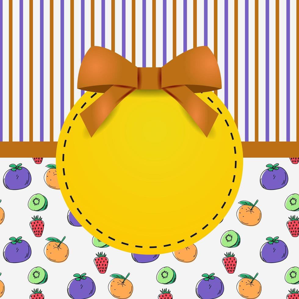 Grußkartenschablonendesign mit Muster frischem Obst und Streifen vektor