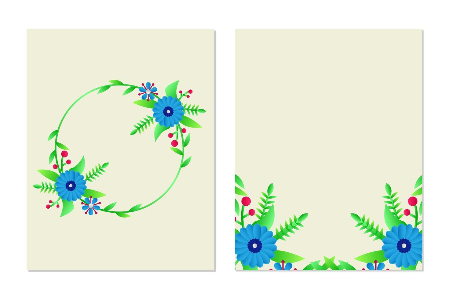 Blumengrußkarte und Einladungskartenschablonendesignsatz vektor