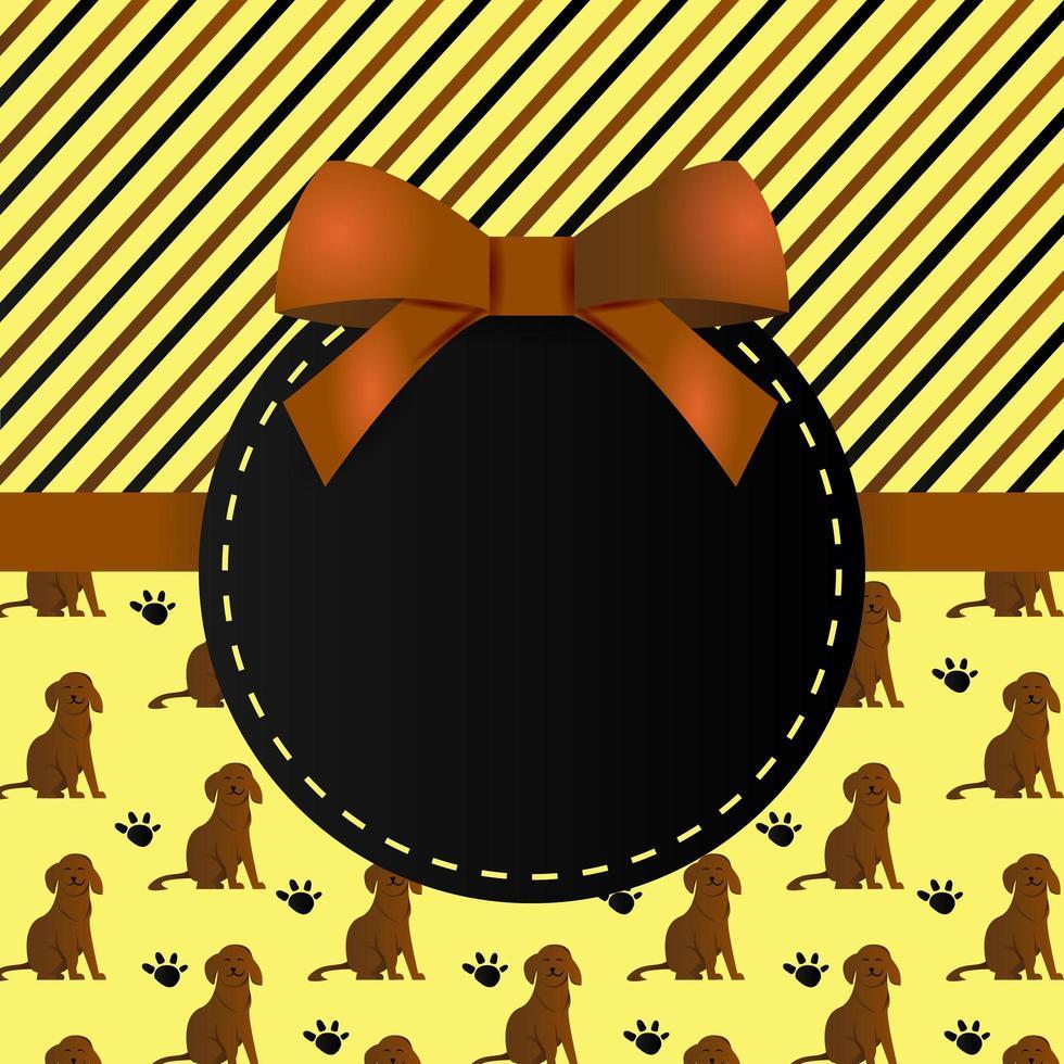 gratulationskort mall design med mönster hund och ränder vektor