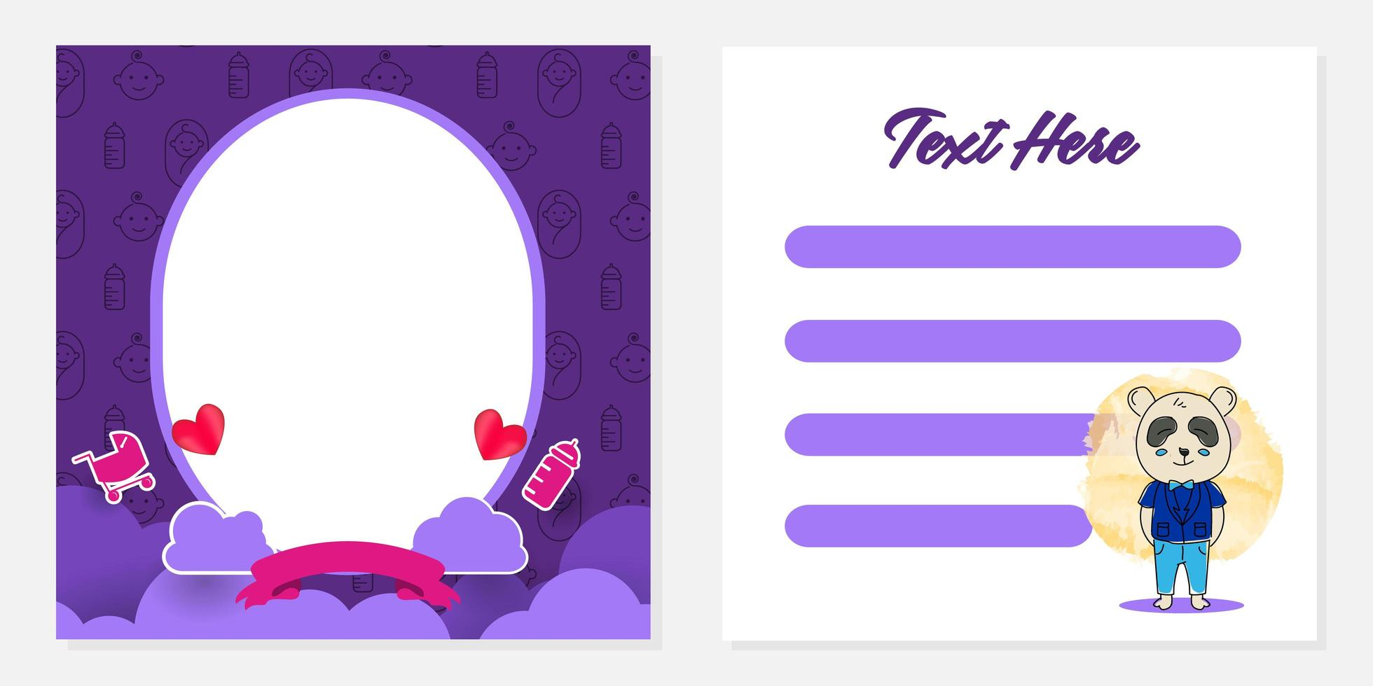 baby shower gratulationskort mall design för utskrift vektor