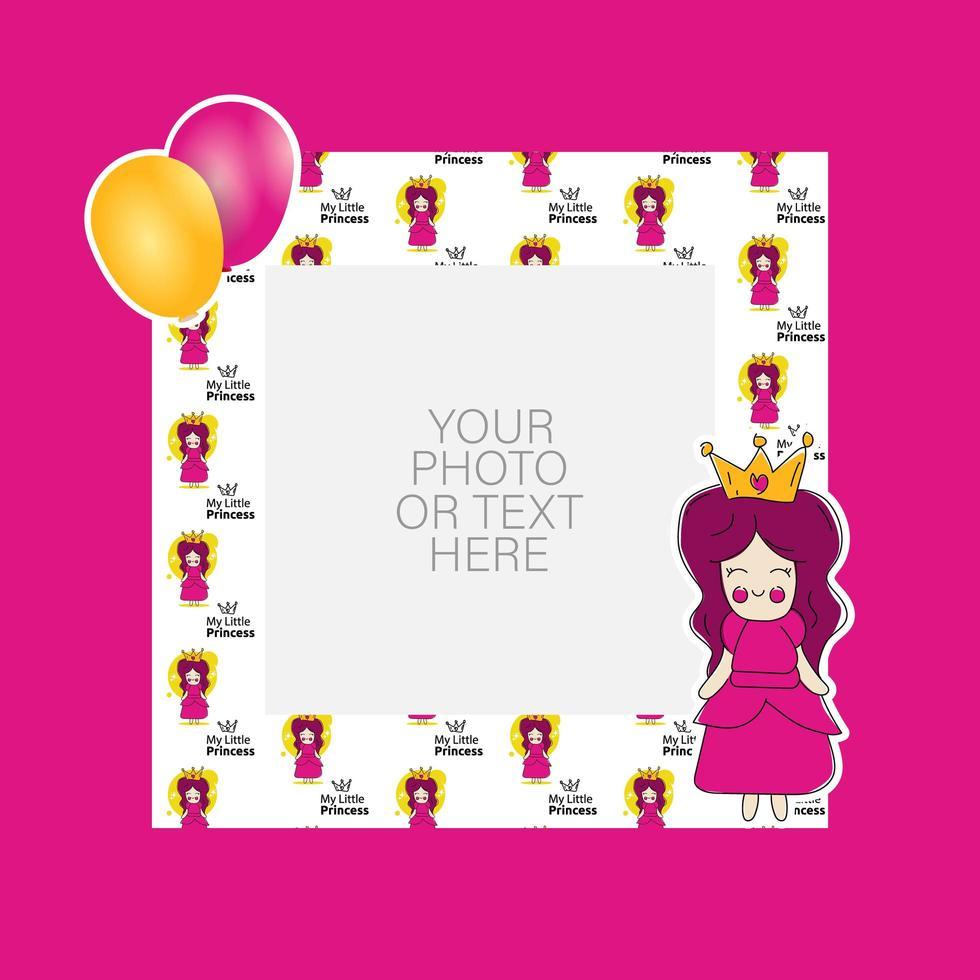 Fotorahmen mit Cartoon-Prinzessin und Luftballons Design vektor