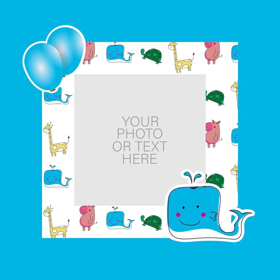 Fotorahmen mit Cartoonwal und Luftballons Design vektor