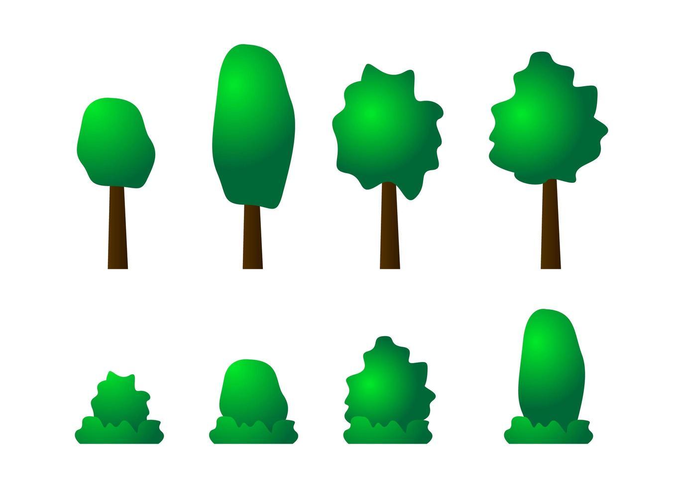 träd och buskar Ikonuppsättning vektor