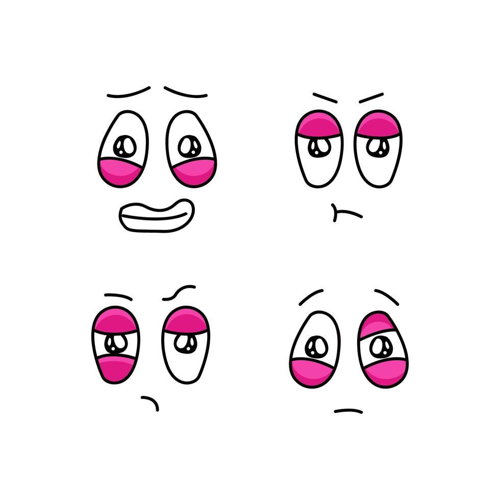 uppsättning roliga tecknade ansikten med olika känslor vektor