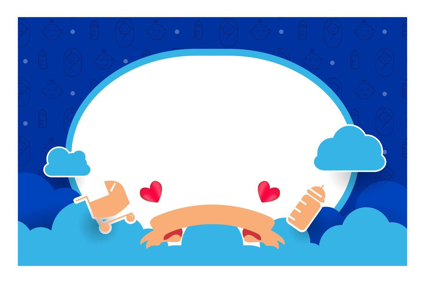 blaues Babypartykartenschablonenentwurf zum Drucken vektor