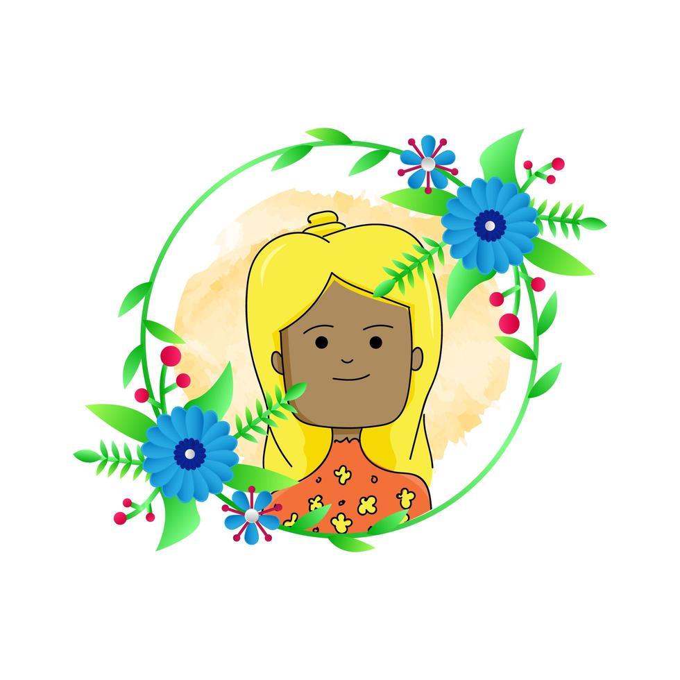 flicka med rund blommönster vektor