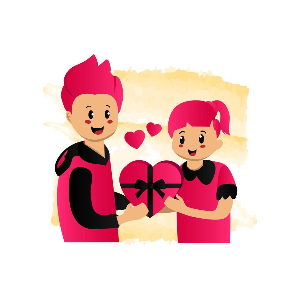 Illustration eines Mannes, der ein Geschenk zu seinem Freundinnenentwurf lokalisiert auf weißem Hintergrund gibt vektor