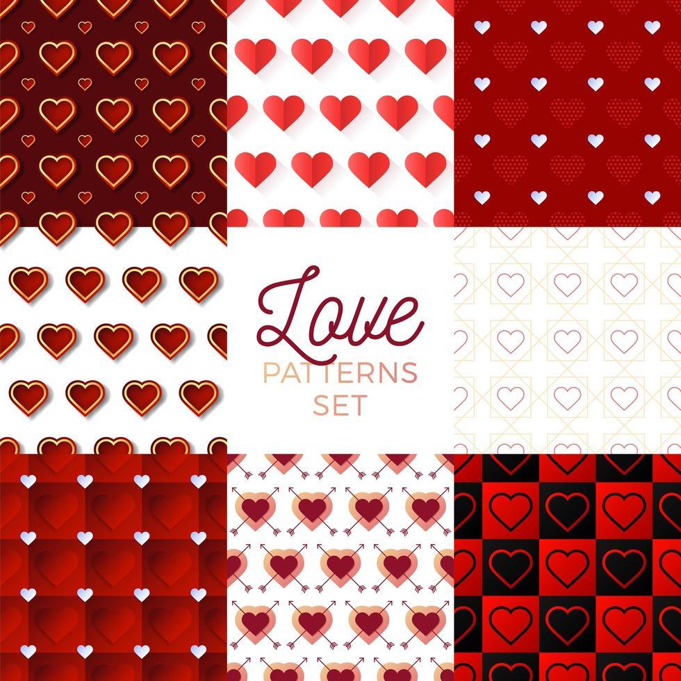 hjärta alla hjärtans dag mönster set vektor