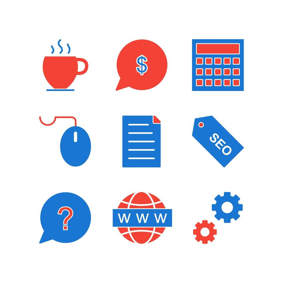 Icon-Set der Suchmaschinenoptimierung vektor