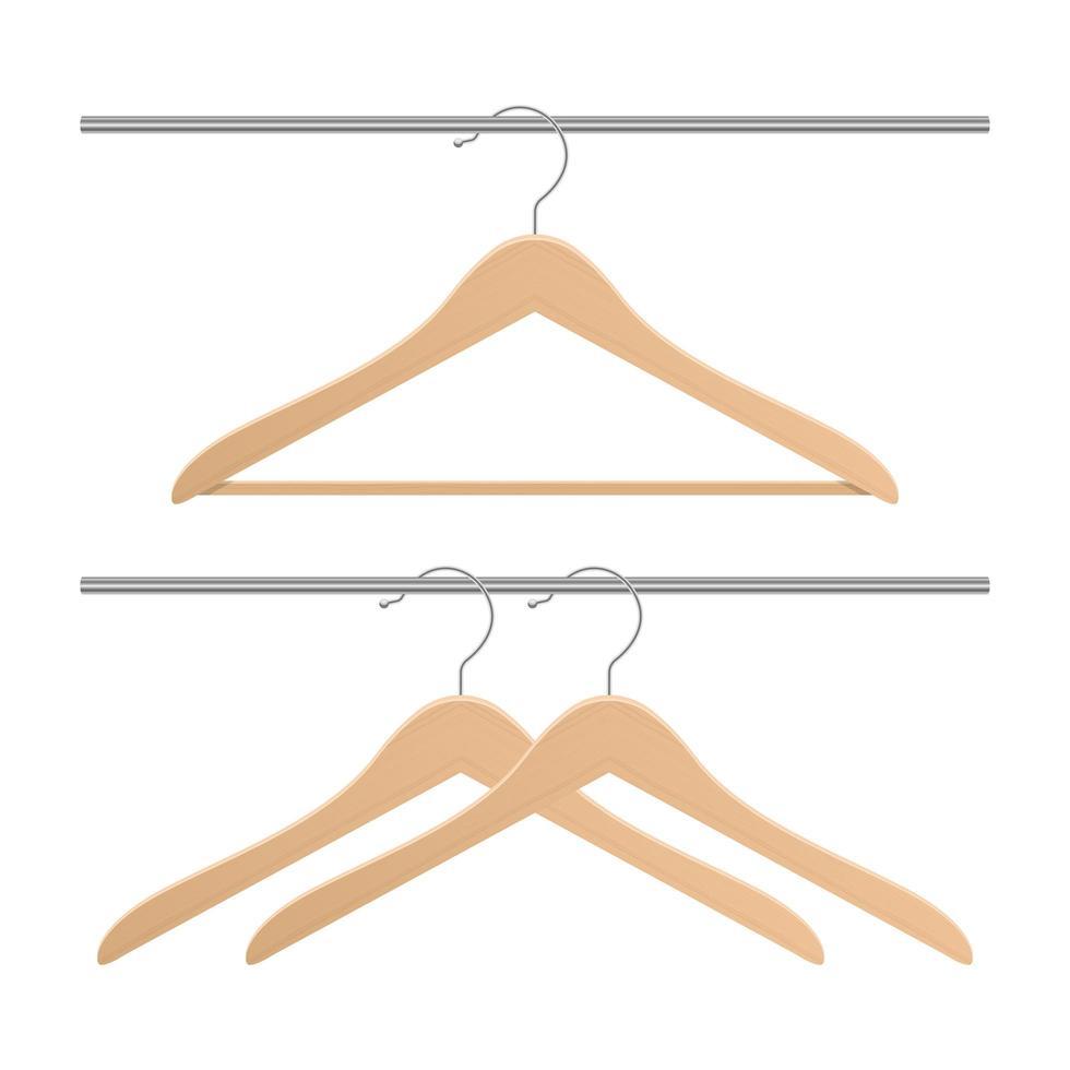 hölzerne Kleidungsaufhängervektorentwurfsillustration lokalisiert auf weißem Hintergrund vektor