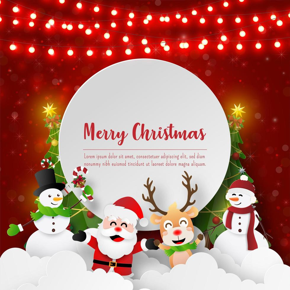 Papierkunst Weihnachtsmann und Freunde mit Kopierraum, frohen Weihnachten und frohem neuen Jahr vektor