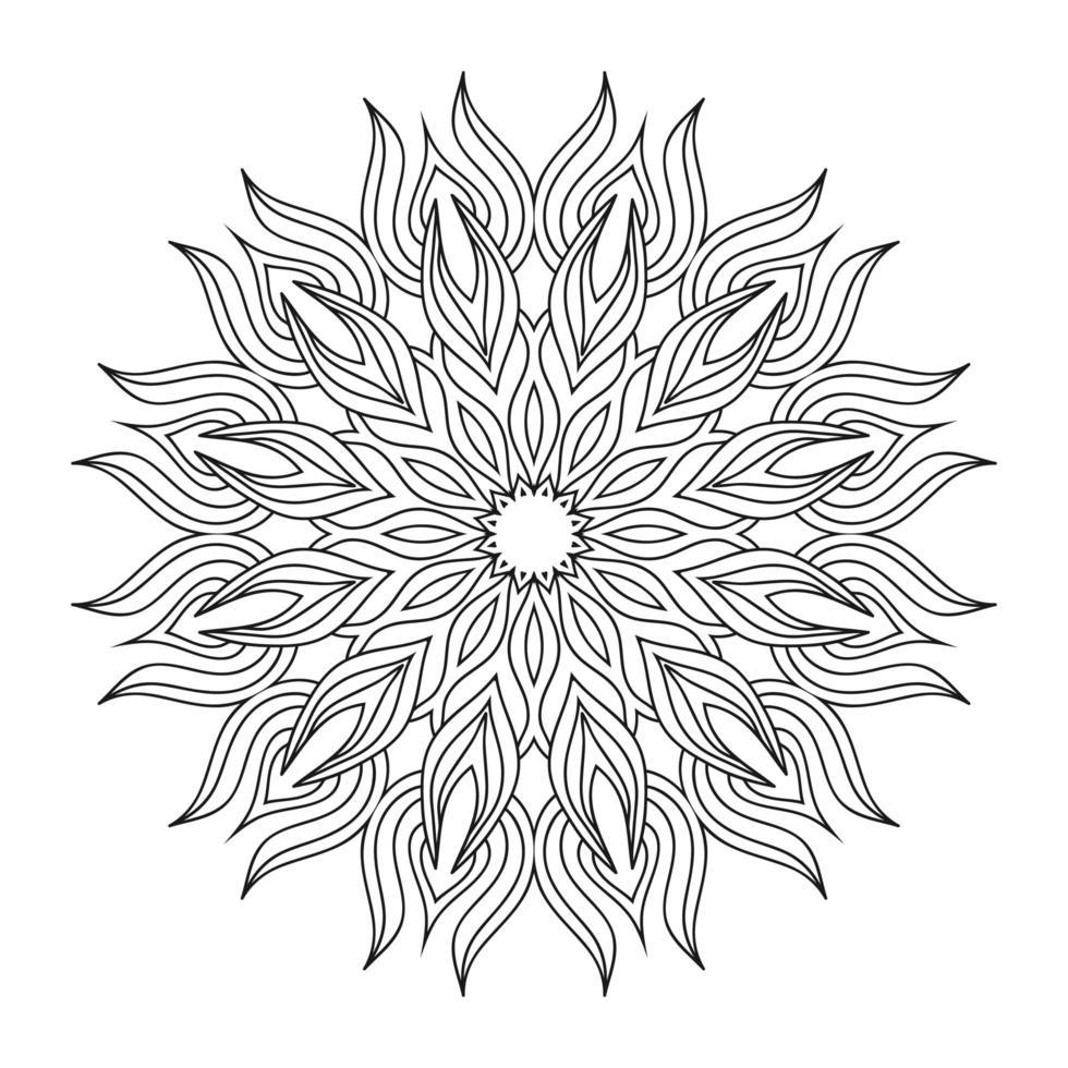 Hand zeichnen kreisförmiges Mandala, Sonnenmandala. dekorative Verzierung im ethnisch orientalischen Stil. Malbuch Seite. vektor