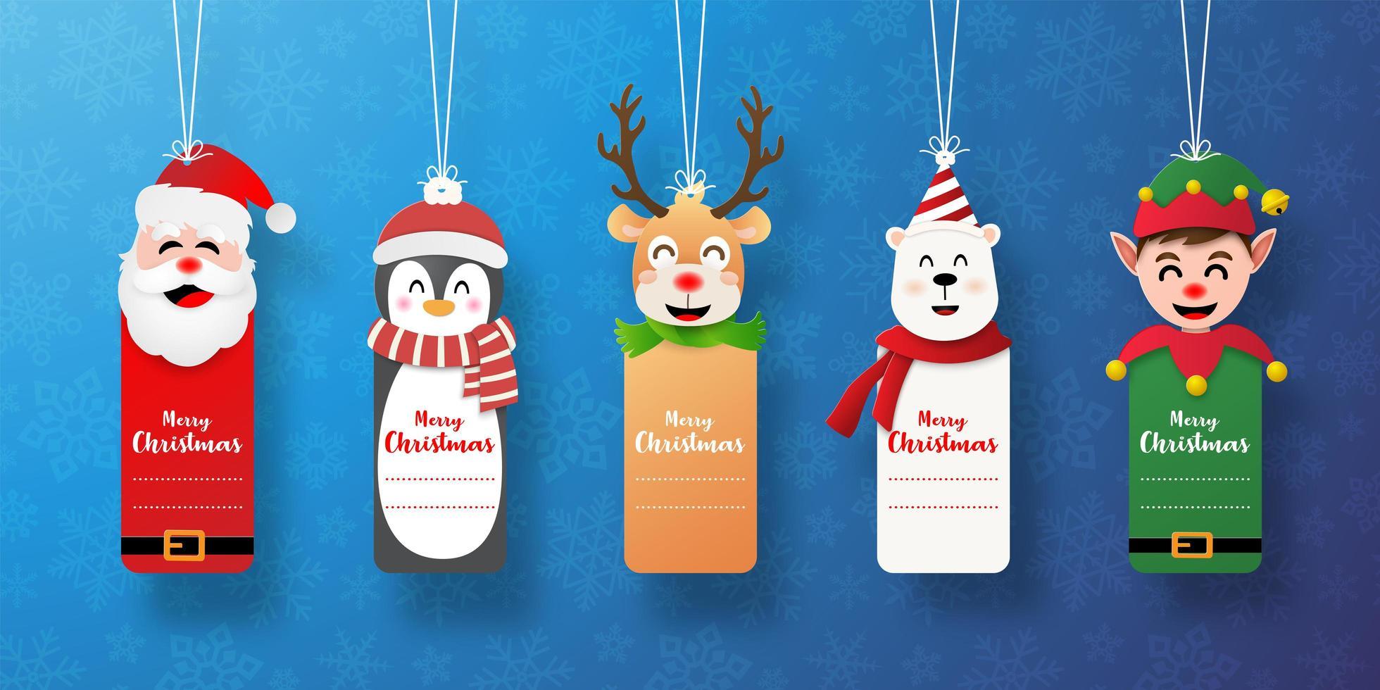 Satz Weihnachtsmarke mit Weihnachtsmann und Freunden vektor